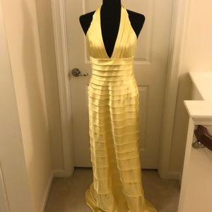 BCBG MaxAzaria tiered formal halter dress